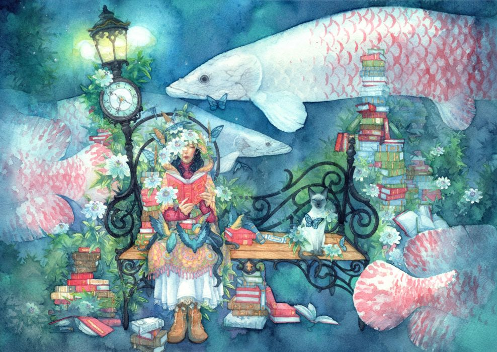 original animal bird book boots cat dress fish flowers original shuka wallpaper