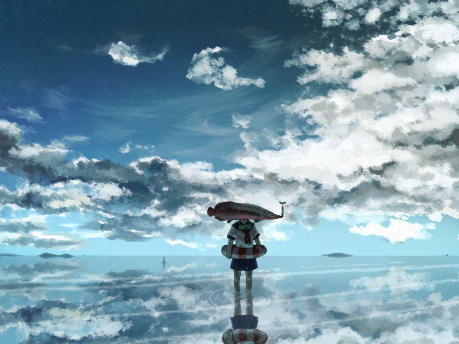 original animal clouds fish scenic seifuku sky water wallpaper