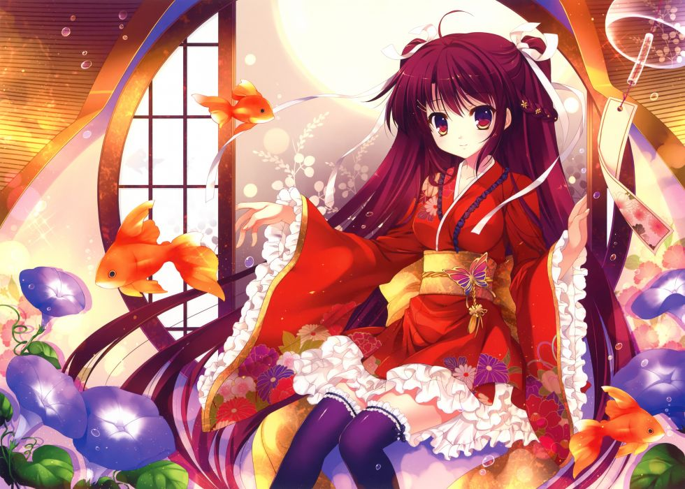 original animal bubbles fish flowers japanese clothes kimono long hair mitha scan thighhighs wallpaper