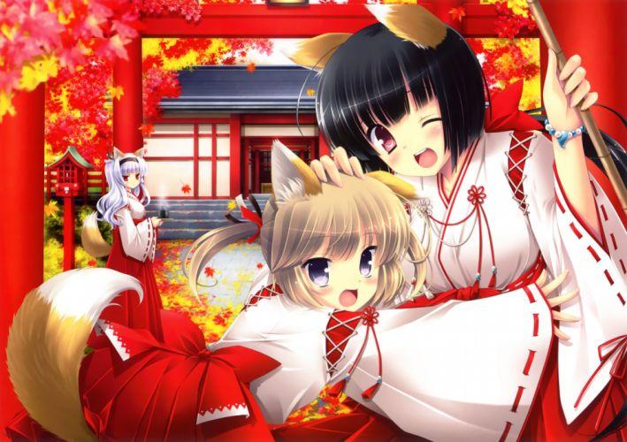 original animal ears autumn foxgirl ikegami akane japanese clothes leaves miko original tail wink wallpaper