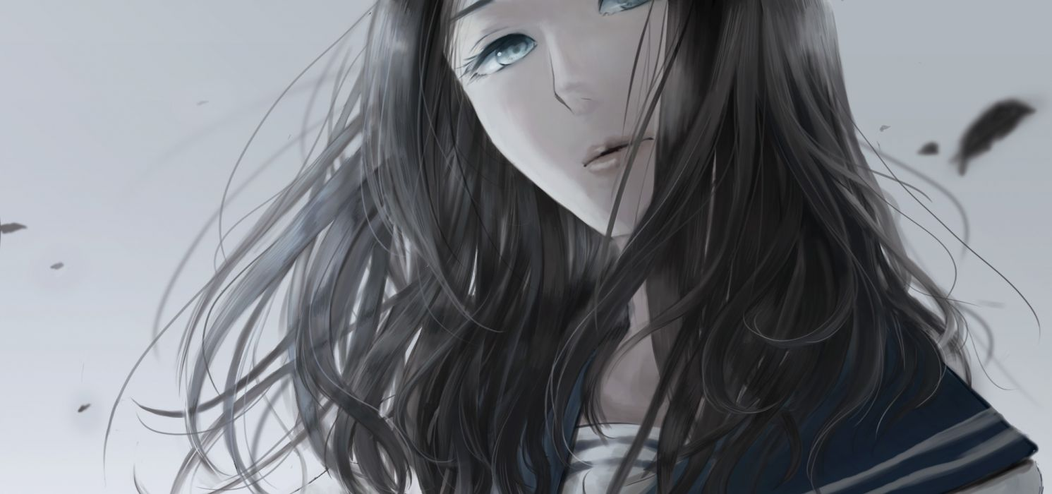 original black hair blue eyes close hiyo wallpaper