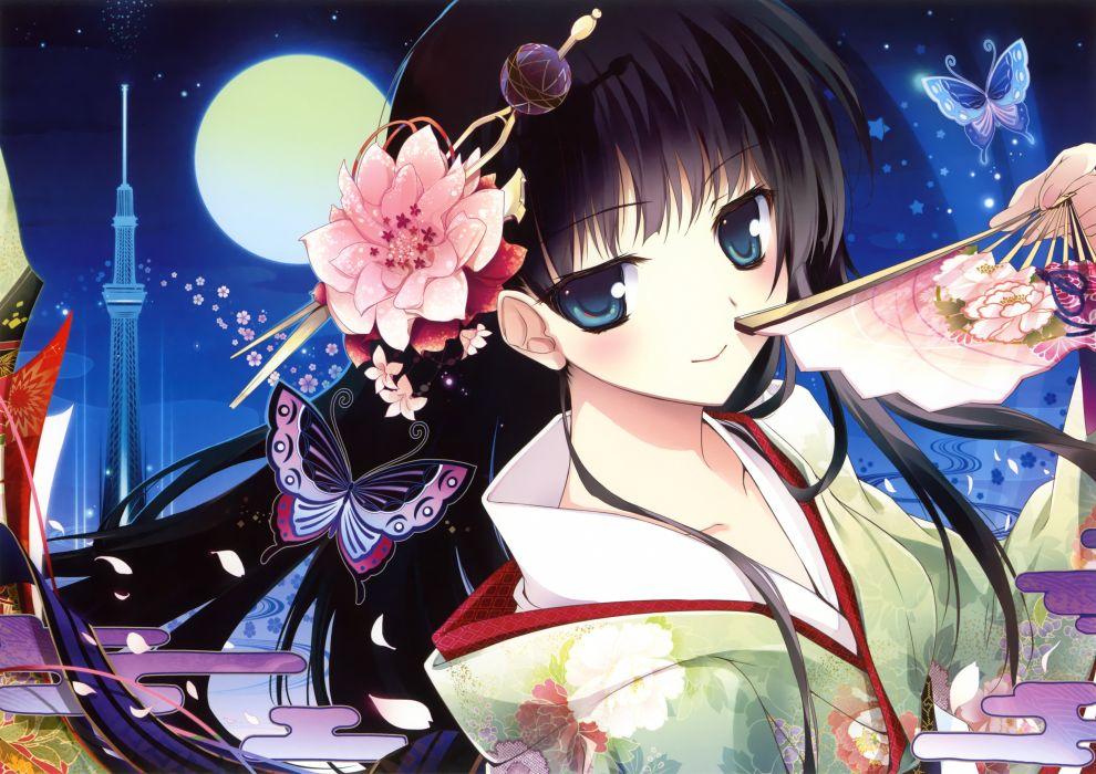 original black hair blue eyes butterfly fan flowers japanese clothes karory kimono long hair moon night petals scan wallpaper