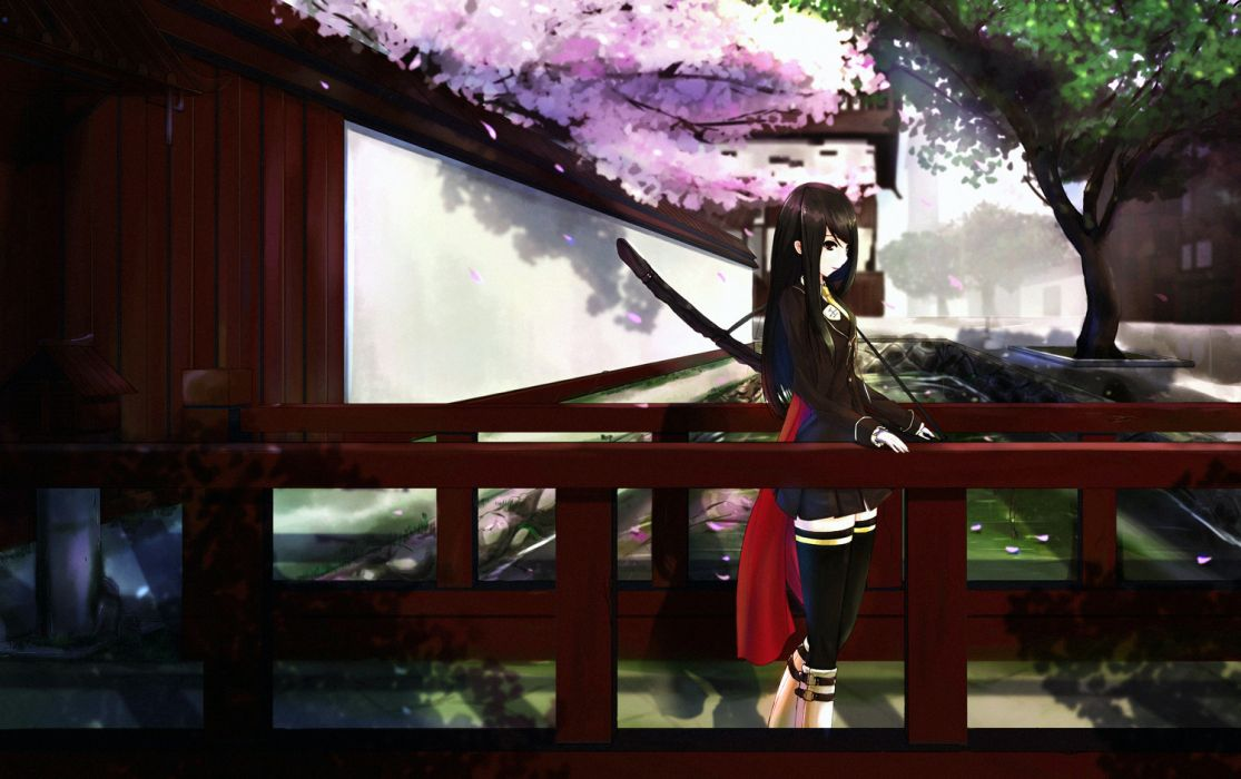 original black hair cherry blossoms katana kikivi long hair sword thighhighs weapon wallpaper