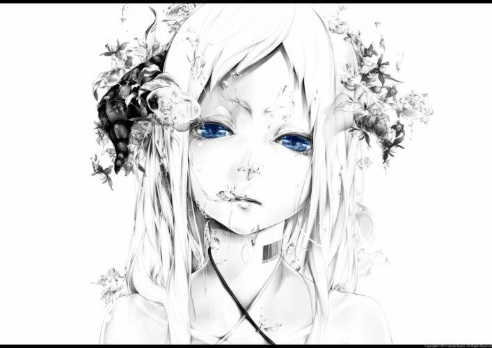 original blue eyes bouno satoshi close horns long hair water white white hair wallpaper
