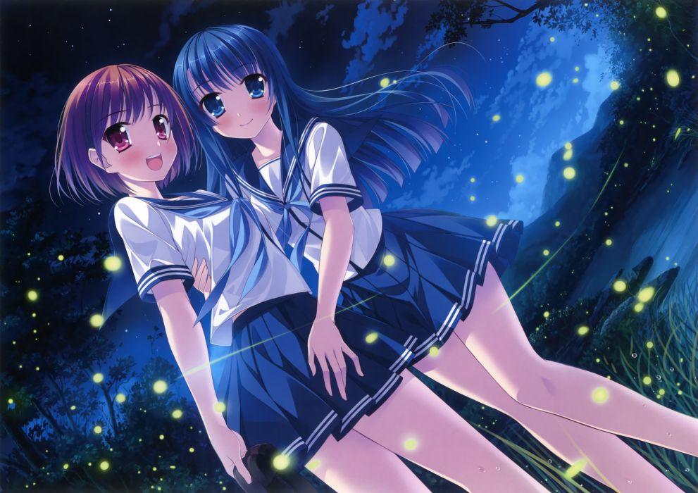 original girls blue eyes blue hair blush purple eyes red hair seifuku sky tagme yuri wallpaper