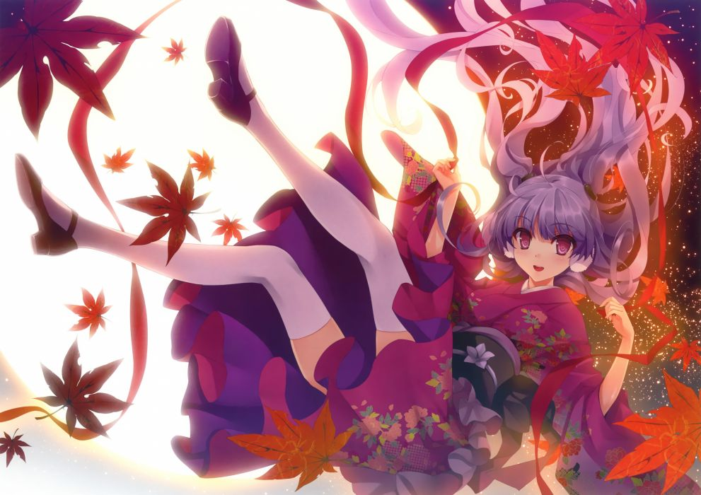 original japanese clothes kimono kuroya shinobu leaves miko moon stars tagme thighhighs wallpaper