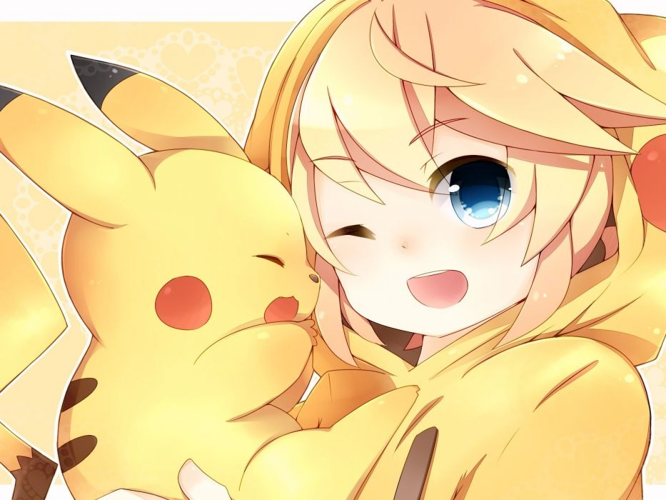 pokemon vocaloid crossover kagamine len leeannpippisum pikachu wallpaper