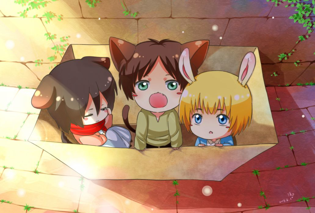 shingeki no kyojinanimal ears armin arlert bunny ears eren jaeger mikasa ackerman moxue qianxi shingeki no kyojin tail wallpaper