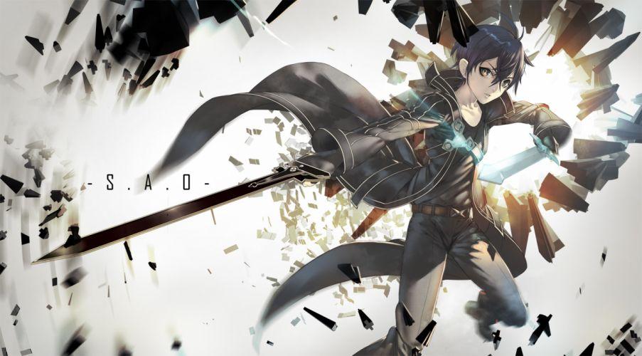 sword art online black hair gloves kirigaya kazuto male sumiobunnya sword weapon yellow eyes wallpaper