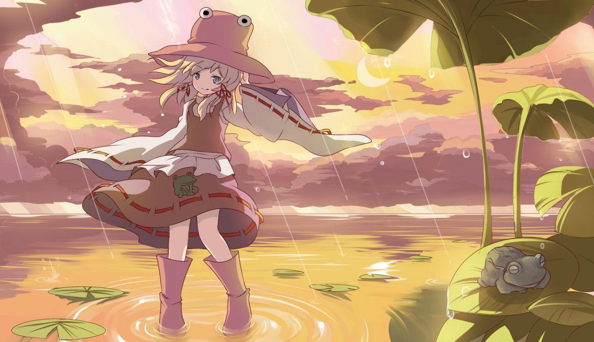 touhou animal boots clouds frog hat leaves moon moriya suwako rain risutaru skirt sky sunset touhou water wallpaper