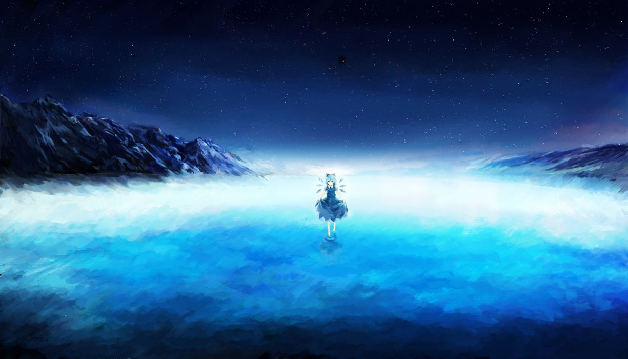 touhou barefoot blue eyes blue hair cirno dress night qunqing scenic sky stars touhou water wings wallpaper