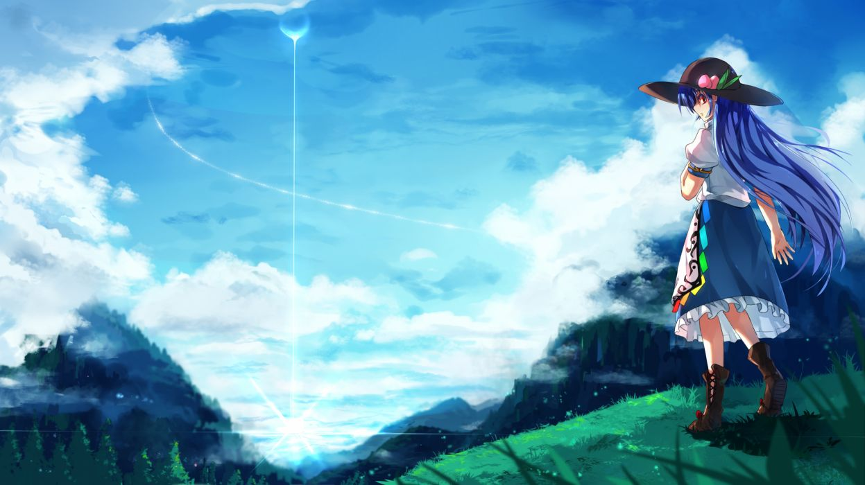 touhou blue hair clouds dress grass haraguroi you hat hinanawi tenshi long hair red eyes scenic sky wallpaper