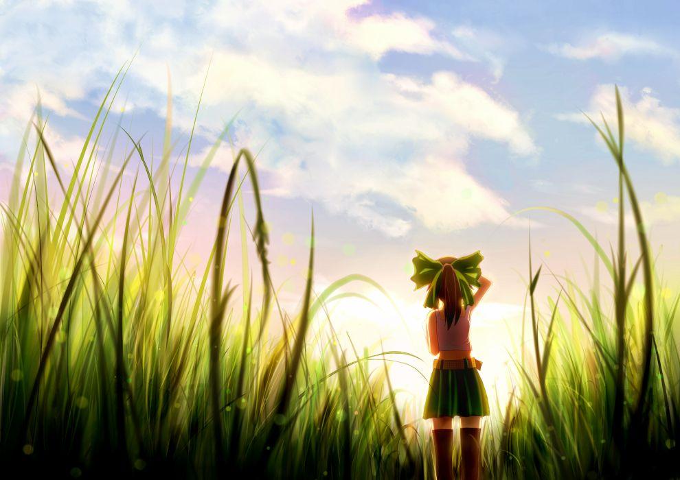 touhou boots bow brown hair clouds grass moe m ponytail reiuji utsuho scenic skirt sky sunset thighhighs touhou zettai ryouiki wallpaper