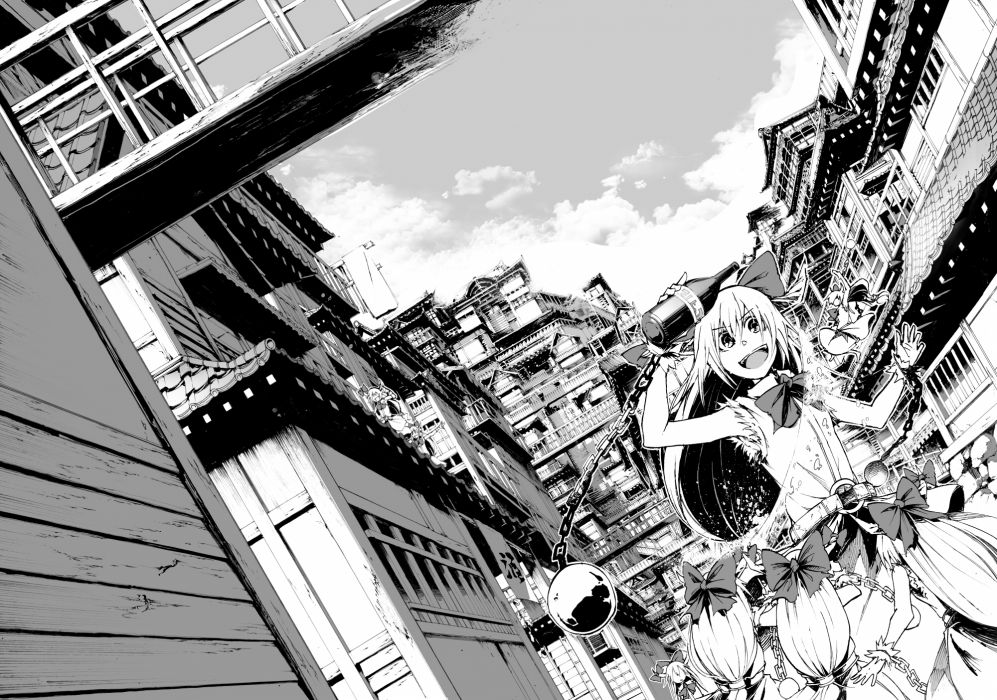 touhou bow building chain city clouds ibuki suika long hair monochrome sky tami wallpaper