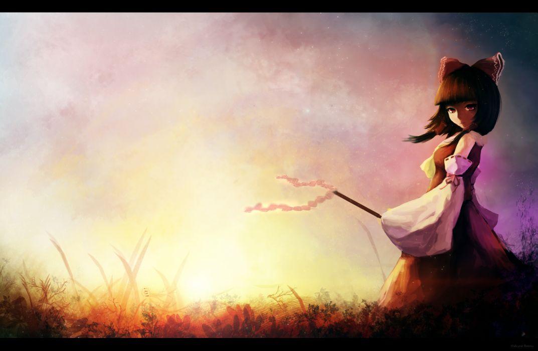 touhou bow brown hair gracehoo grass hakurei reimu leaves red eyes short hair skirt sky stars wallpaper