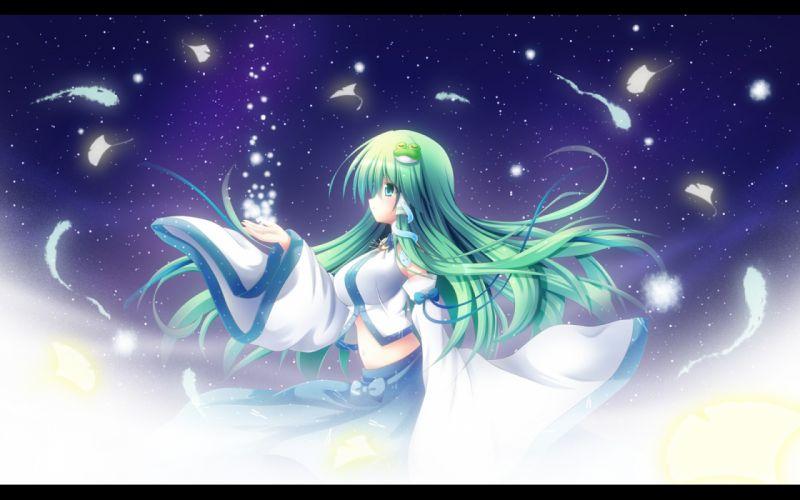 touhou green hair kochiya sanae long hair shin osada stars wallpaper