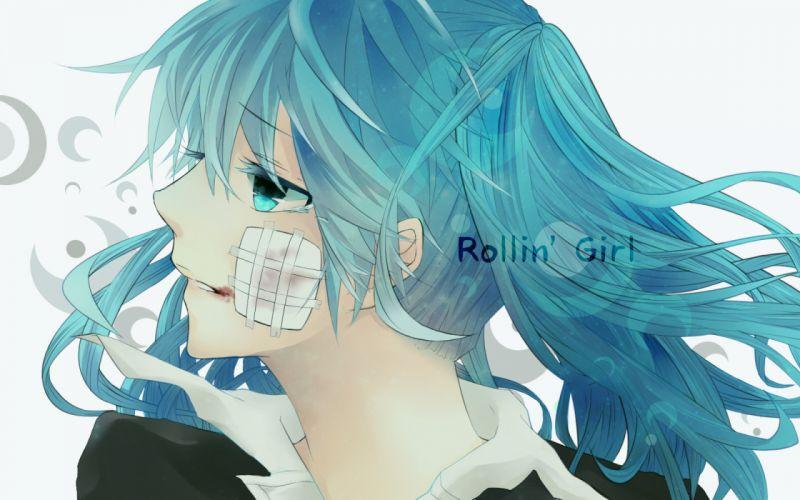 vocaloid bandaid blood close gantai-usagi hatsune miku rolling girl wallpaper