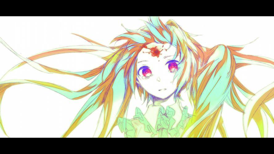 vocaloid blood crying hatsune miku meola pink eyes wallpaper