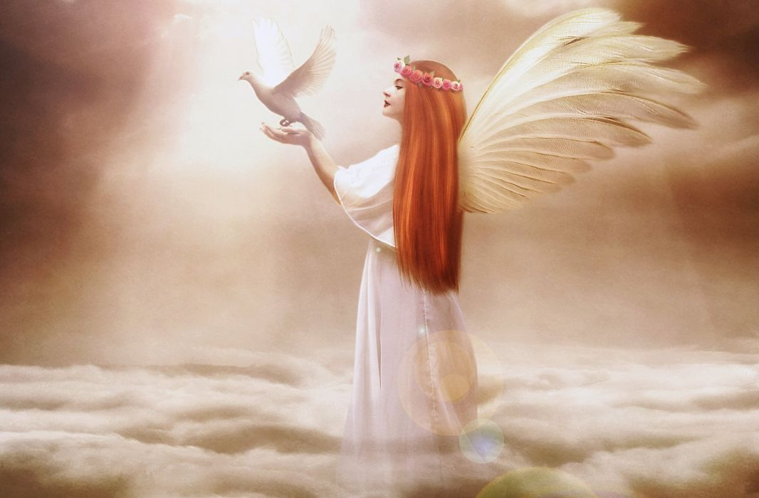 Angels Pigeons Redhead girl Wings Clouds Fantasy Girls angel wallpaper