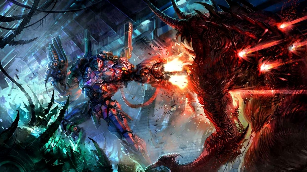 Battles Monsters Robot Firing Fantasy warrior fire battle sci-fi wallpaper