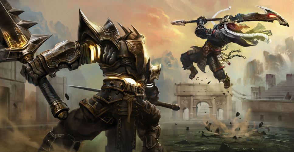 Battles Warriors Armor Jump Scythe warrior battle wallpaper