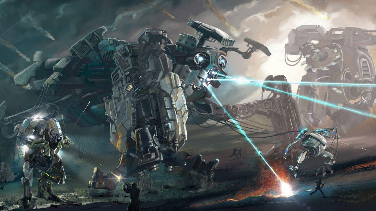 Battles Robot Firing Fantasy robot mecha battle wallpaper