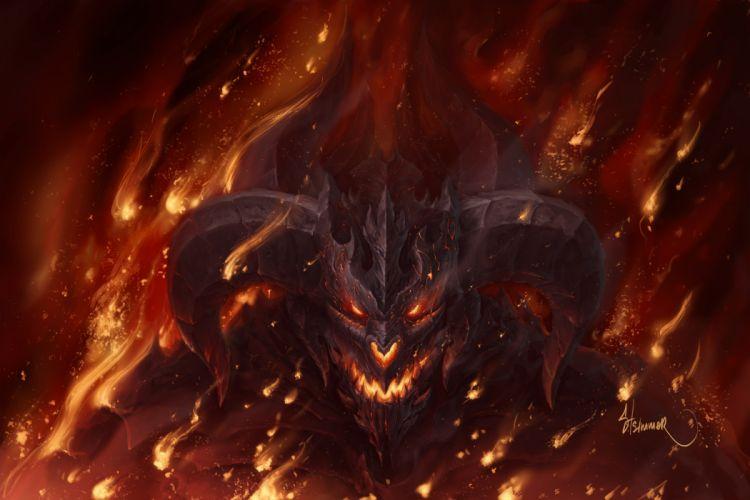 Demons Monsters Fire Horns Fantasy demon dark wallpaper