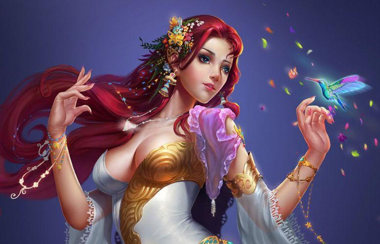 Elves Breast Redhead girl Fantasy Girls elf wallpaper