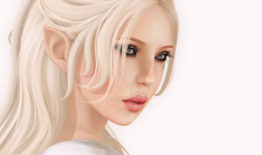 Elves Face Blonde girl 3D Graphics Girls Fantasy elf girl wallpaper