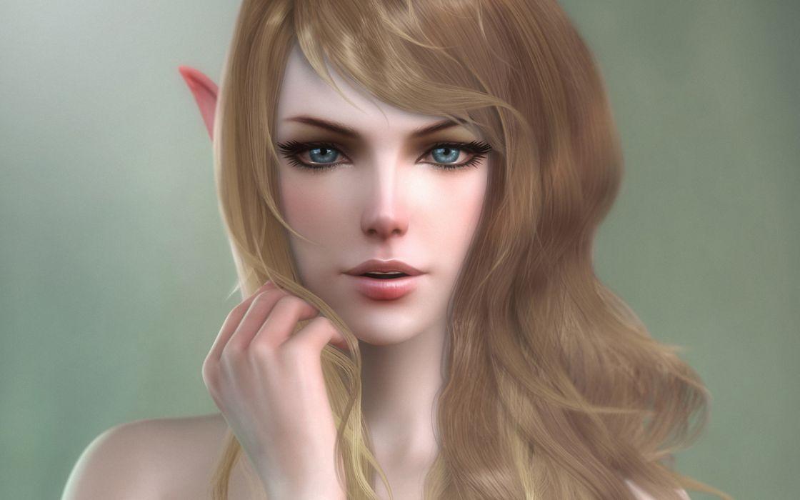 Elves Face Hair 3D Graphics Fantasy Girls elf wallpaper