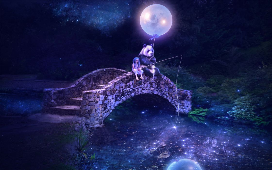 Fantastic world Bridges Pandas Moon Night Fantasy panda bear girl girls magical wallpaper