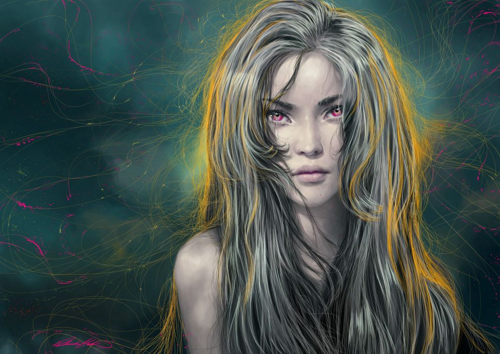 Fantasy Girls Hair Glance Grey girl wallpaper