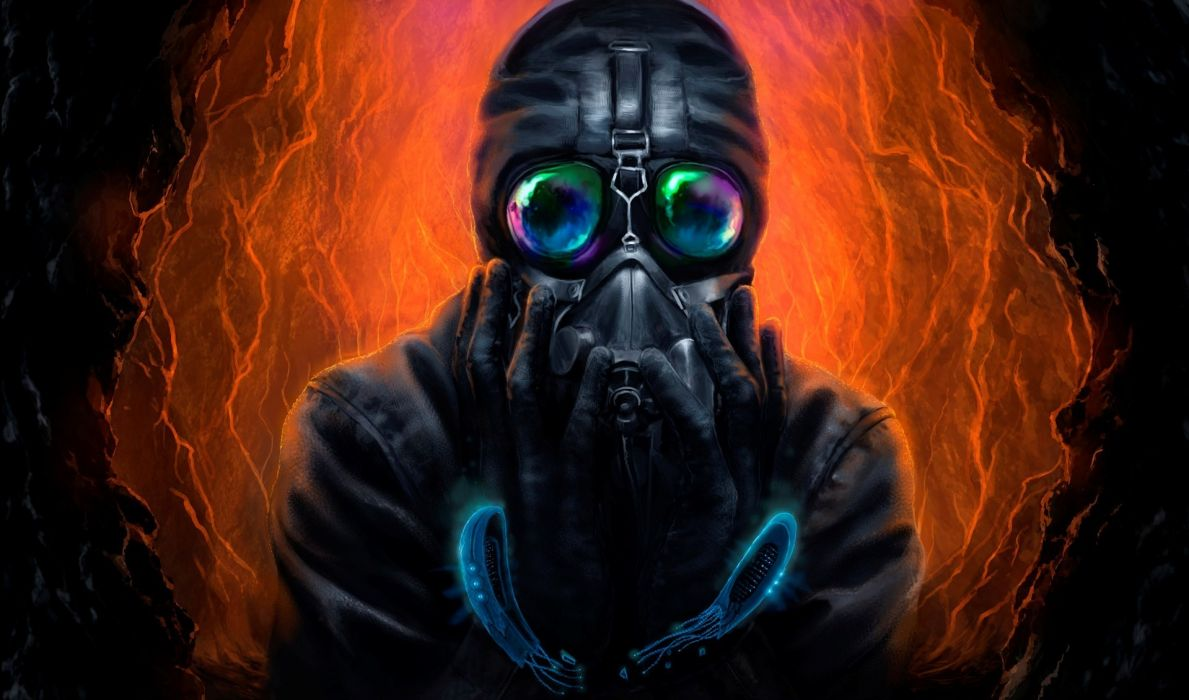 Heroes comics Romantically Apocalyptic Zombie Fantasy sci-fi futuristic dark gas mask wallpaper