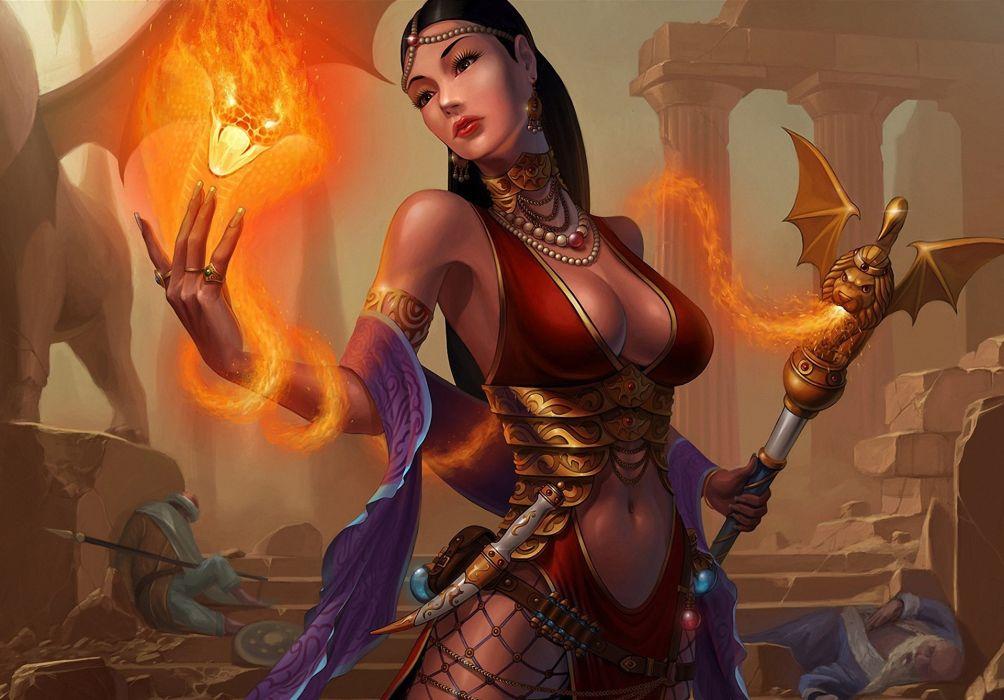 Magic Fantasy Girls fire wallpaper