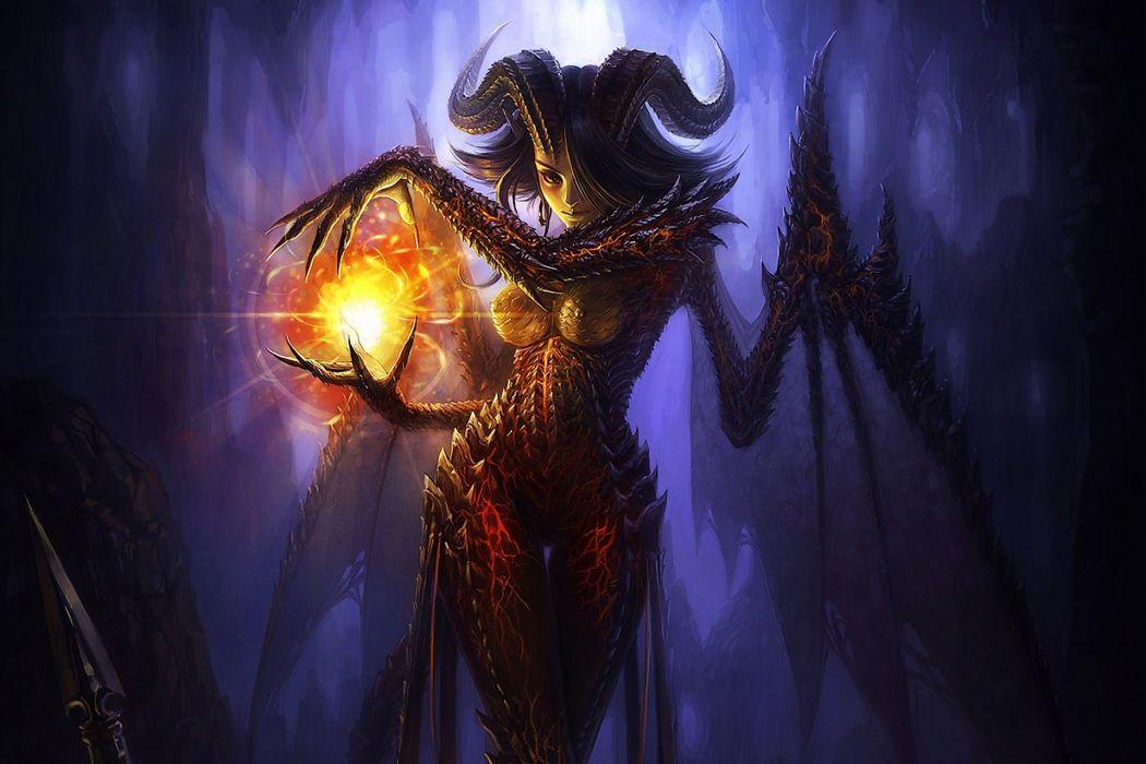 Supernatural beings Magic Horns Fantasy wallpaper