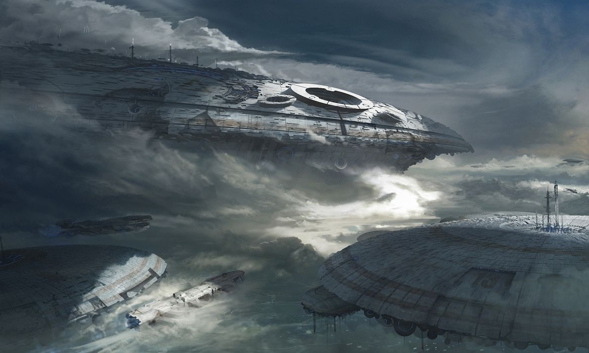 Technics Ships Clouds Fantasy Space spaceship wallpaper