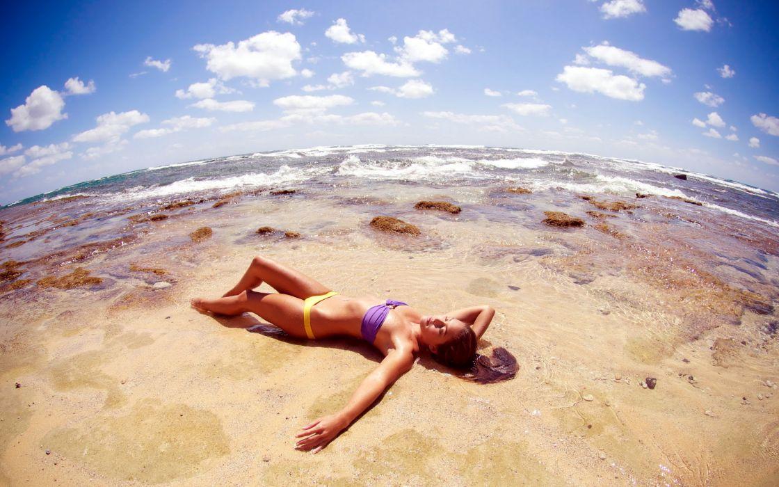 Beach Bikini Fisheye Brunette ocean waves wallpaper