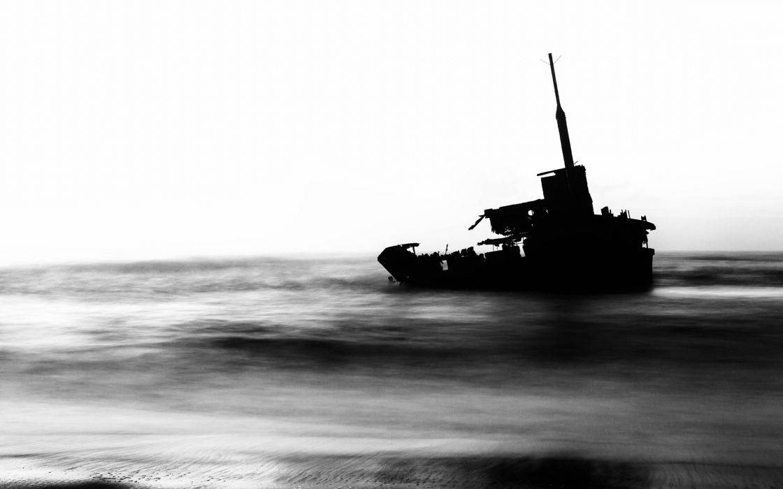 Boat Abandon Deserted Dilapidated Ocean Beach B-W Beached beache wallpaper