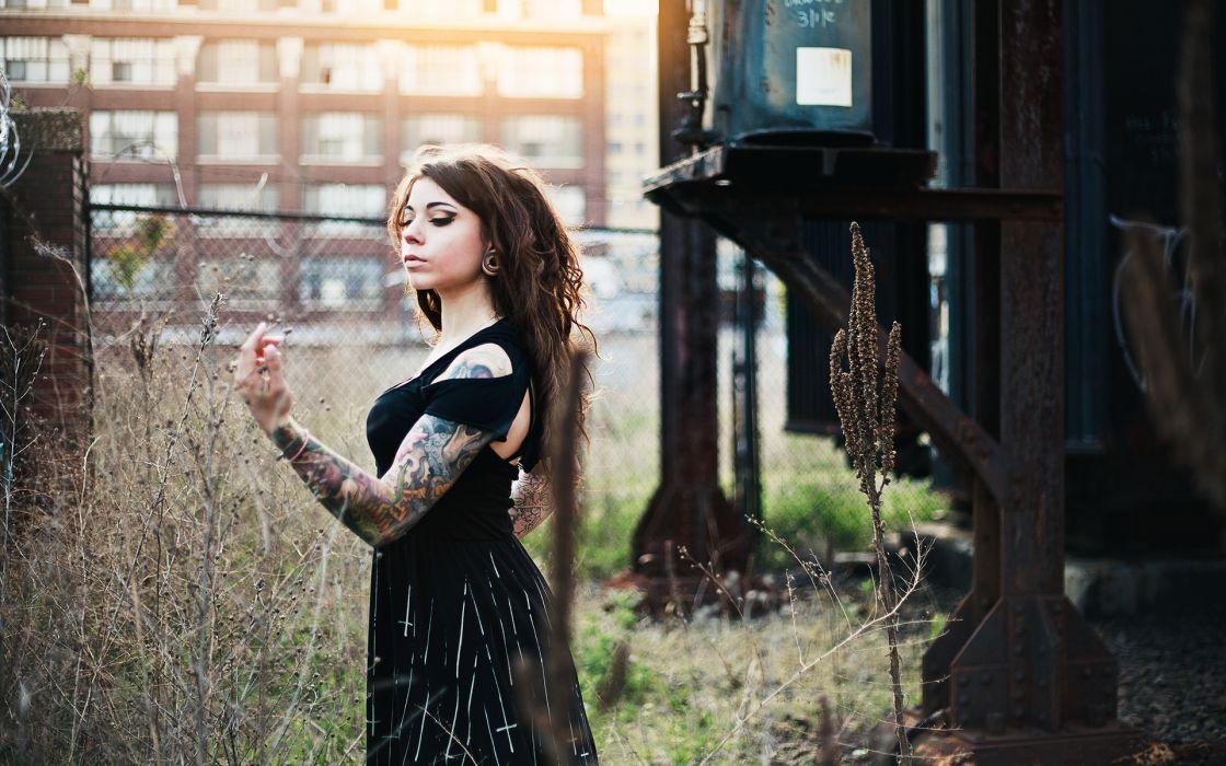 Brunette Tattoos Dress wallpaper