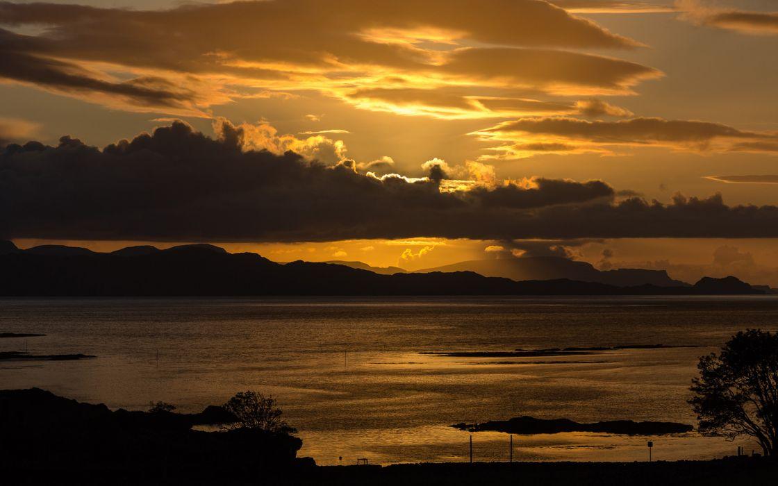 Clouds Ocean Landscape Sunset wallpaper