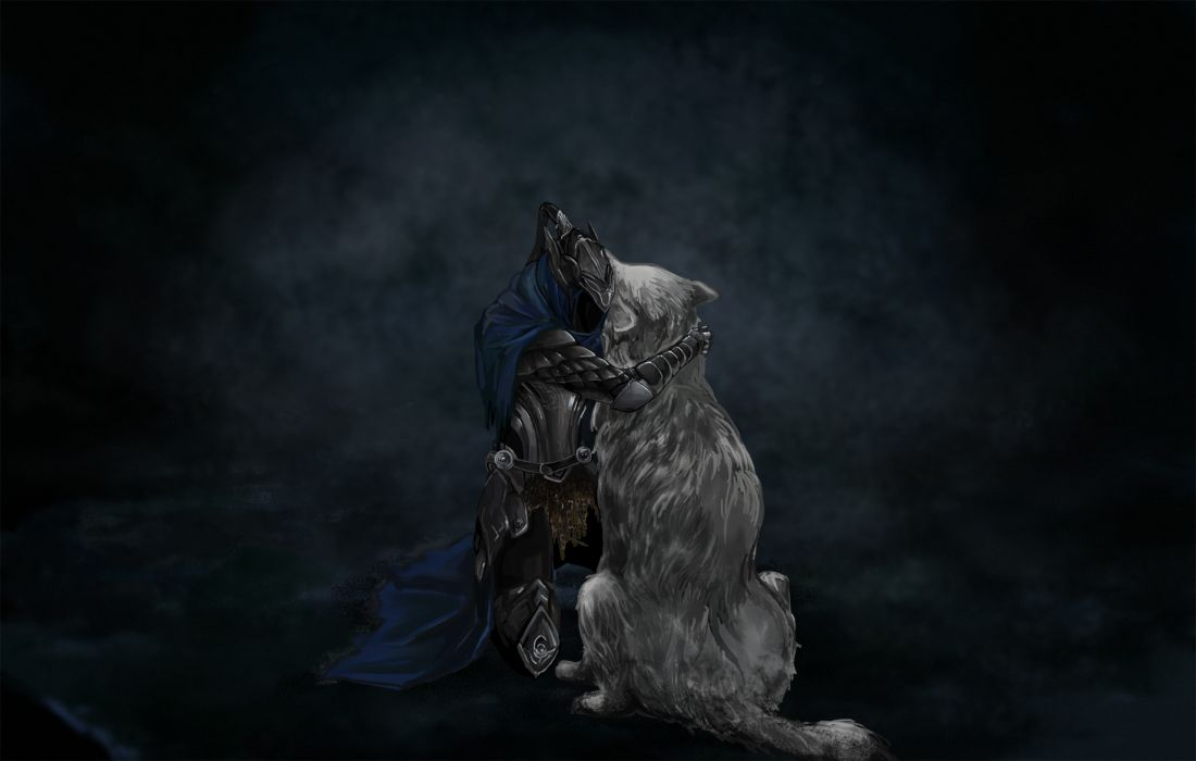 Dark Souls Knight Medieval Wolf Hug Embrace dark fantasy wallpaper