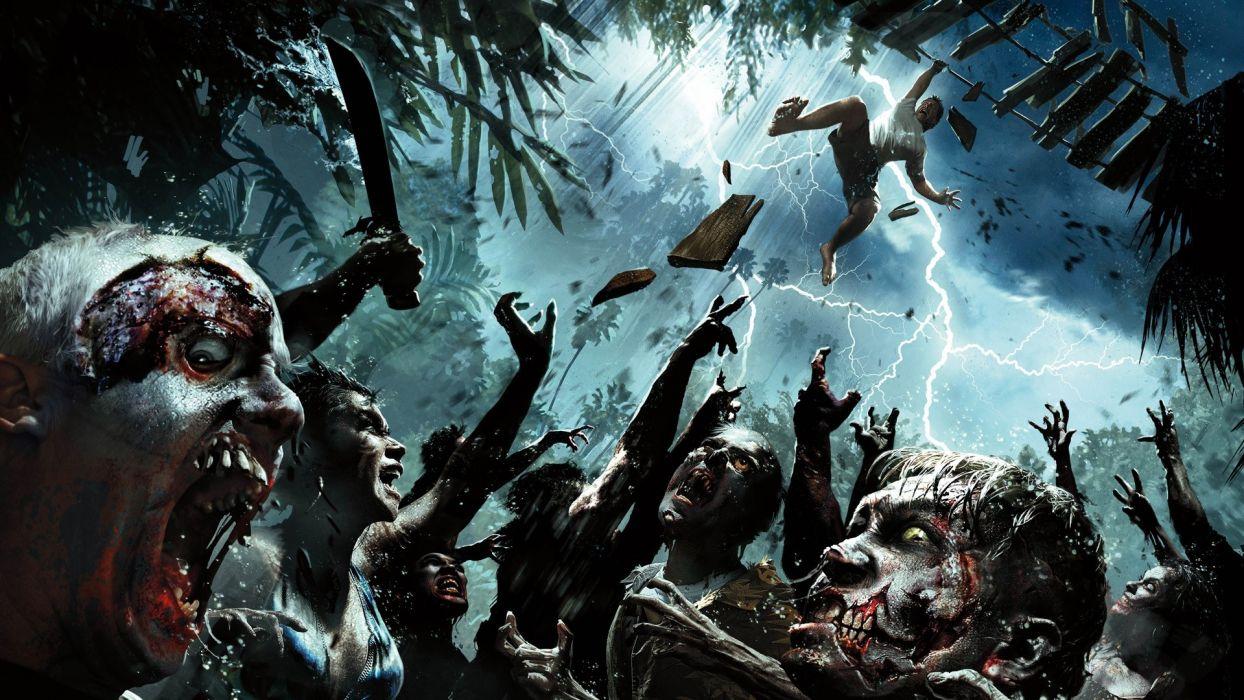 Dead Island Zombies Storm Lightning Machete dark horror wallpaper