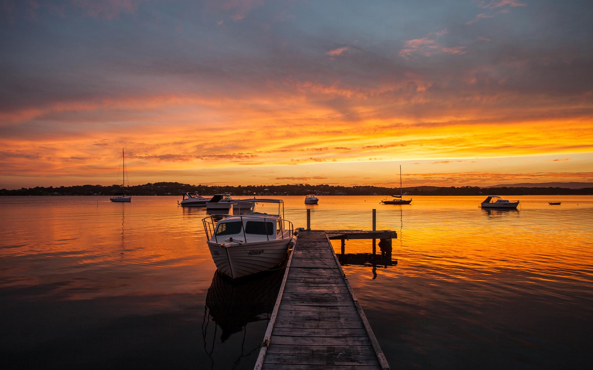 Dock Boats Sunset Lake Wallpaper 1920x1200 97149