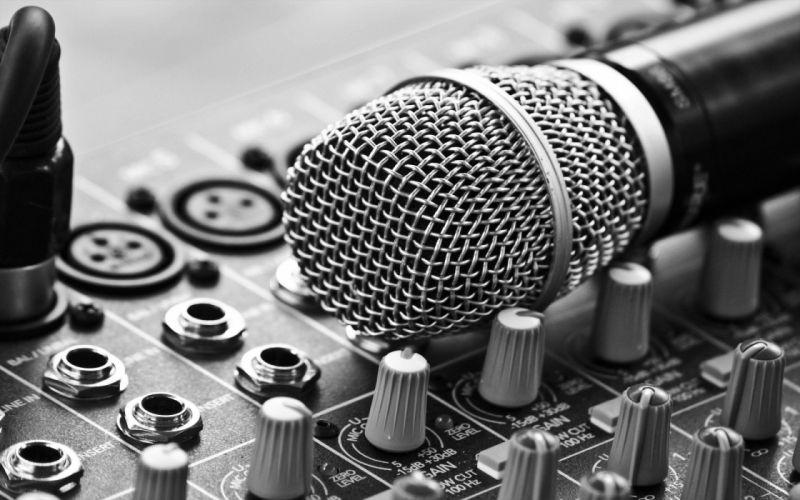 Microphone Mixer Mixing Board Macro Knobs b-w wallpaper