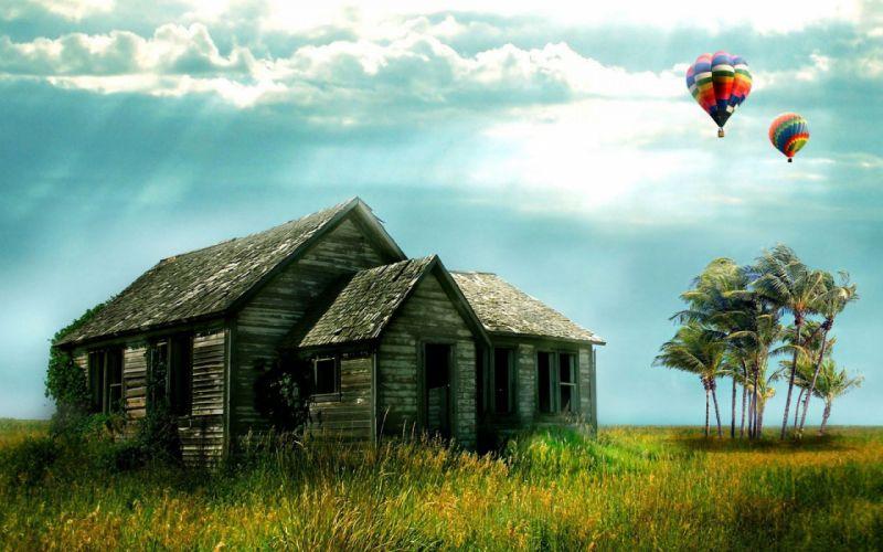 fantasy baloons balloons house sky wallpaper