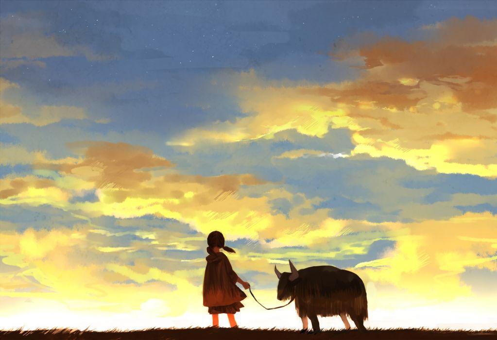 original animal brown hair clouds grass kyouichi sky stars sunset twintails wallpaper