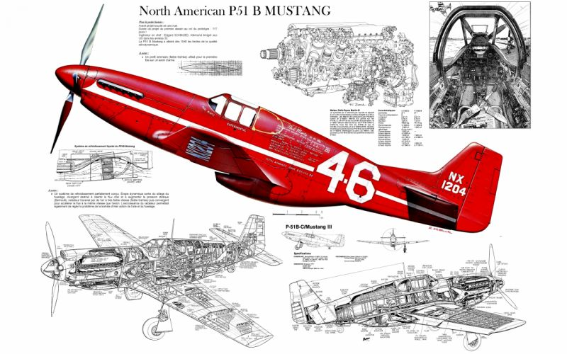 Airplane Plane WWII World War P-51 Cutaway military wallpaper