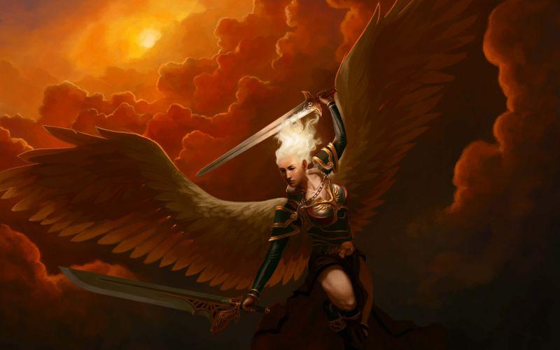 Angel Wings Drawing Sword wallpaper