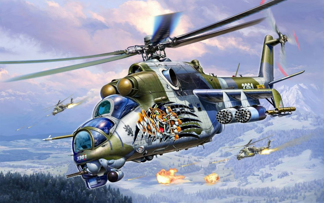 art vertalet Mi-24 Soviet Russian transport military helicopter wallpaper