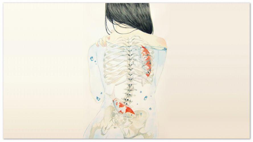 Back Skeleton White Koi Fish Drawing wallpaper